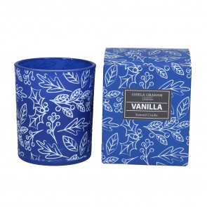 Vanilla Scented Blue & White Holly Candle