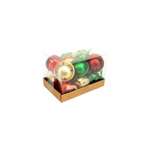 Box of 12 Tin Jingle Bell 3cm - Red, Gold & Green