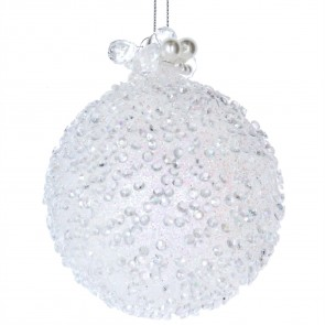Glass Bauble (8cm) - White Beaded w Pearls
