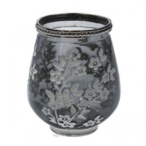 Grey Glass Blossom T-Lite Holder Small