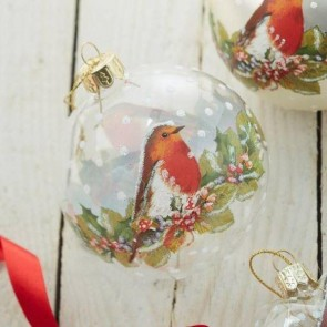 Clear Bauble With Robin