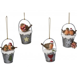 Set of 4 Resin Decorations 8cm - Robin in Bucket