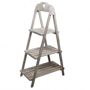 Natural Wood Triple 'Ladder' Display Stand