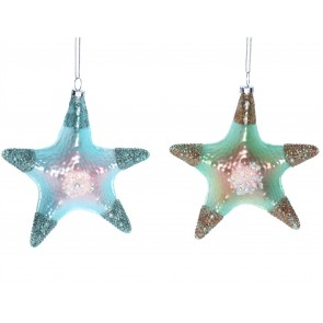 Glass Shape 13cm - Green/Blue Starfish