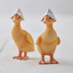 Pair of Resin Ducks With Paper Hats