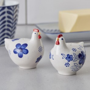 Blue and White Chicken Salt and Pepper Set
