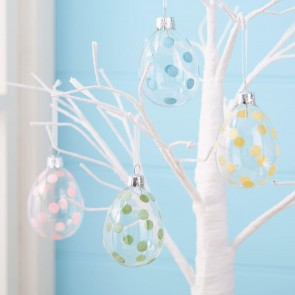 Set Of Four Glass Easter Egg Decorations