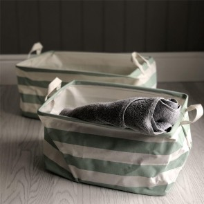 Green Stripe Storage Tub - Set of Two
