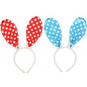 Set of 2 Fabric Bunny Headbands - red/blue
