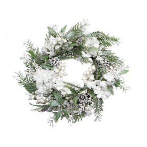 Fir Wreath With White Snowy Flowers