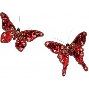 Set of 2 Clip-on Butterfly 17cm - Red Sequin