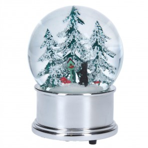 Large Snow Globe 13cm - Cat in Woods/Silver
