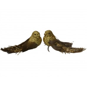 Set of 2 Clip On Birds 12cm - Gold Glitter with Feather Tails