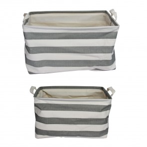 Two Grey Striped Storage Baskets