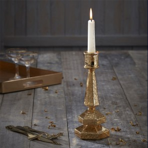 Tall Glass Gold Candlestick