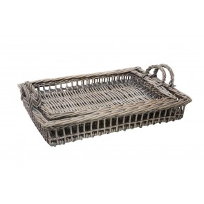 Set of Two Wicker Trays