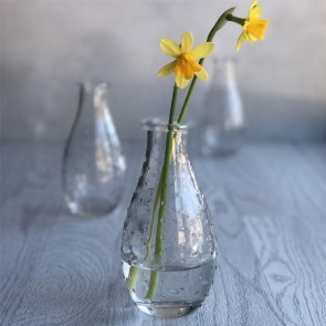 Set of Three Dimpled Clear Glass Vases