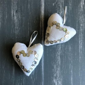 Pearl Button Fabric Hanging Heart