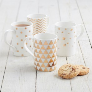 Set of Four Gold Coffee Cups