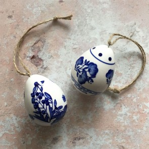 Set of Two Blue & White Ceramic Egg Decorations