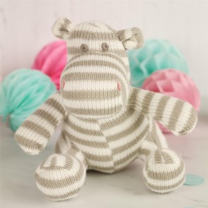 Grey Striped Knitted Hippo