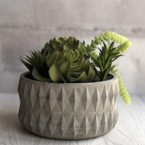 Artificial Succulents in Round Concrete Pot