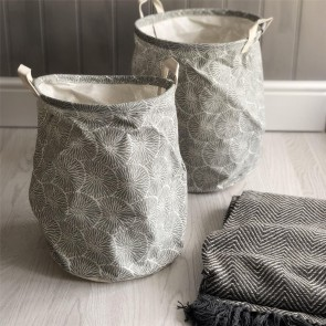 Set of Two Grey Flowers Round Storage Tubs