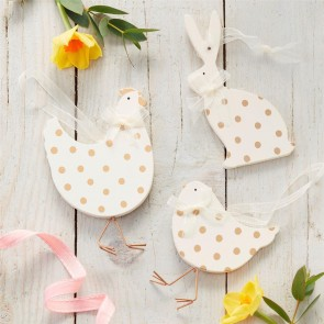 Set of Three White and Gold Easter Animal Decoration