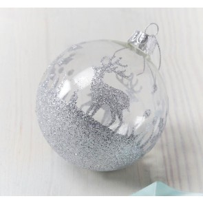 Silver Reindeer Forest Bauble