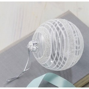 Clear Glass Bauble With Silver Stripes