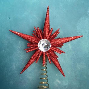 Red Glitter Star Tree Topper