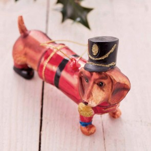Dachshund Soldier Christmas Bauble
