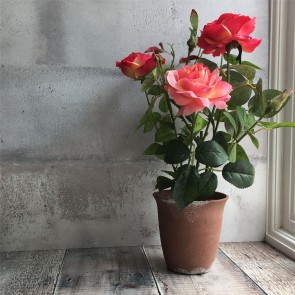 Dark Pink Potted Artificial Rose