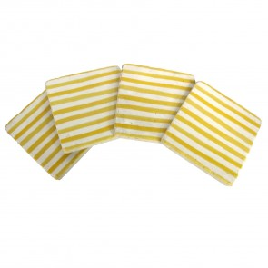 Mustard Stripe Coasters - Set of Four