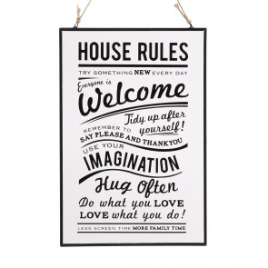 Glass House Rules Sign