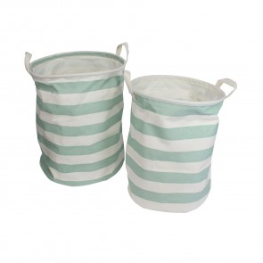 Green Stripe Storage Tub - Set of Two Round