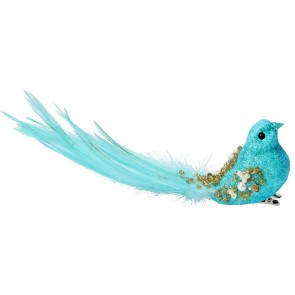 Clip-on Bird 5cm - Turquoise w Gold Beads