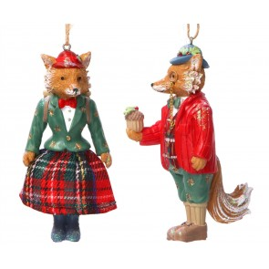 Set of 2 Resin Decorations 11cm - Dressed Mr and Mrs Fox
