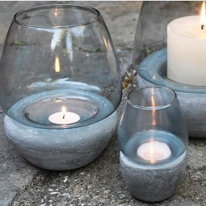 Blue Glass & Concrete Tea Light Holder Mini