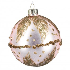 Pink Glass Christmas Tree Bauble with Gold Feathers Design, 8cm