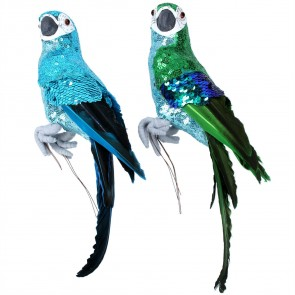 Set of 2 Large Parrots 32cm - Blue/Green Sequins