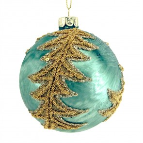 Turquoise Glass Christmas Tree Bauble with Gold Beaded Spiral Vine, 8cm
