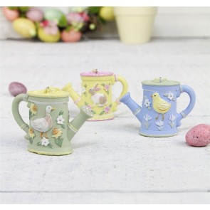 Spring Garden Resin Watering Can Decorations - Set of Three