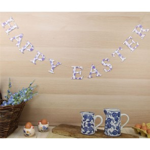 Blue and White Floral Wood 'Happy Easter' Garland