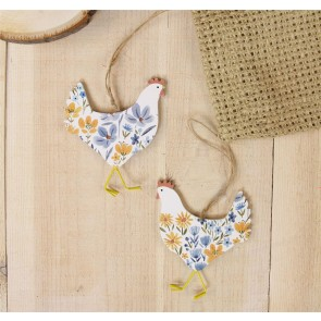 Country Folk Wooden Hen Decoration - Set of Two