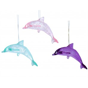 Set of 3 Acrylic Decorations 5cm - Pink/Purple/Turq Dolphin