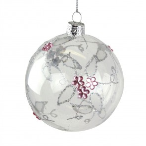 Clear Glass Christmas Tree Bauble with Pink Diamante Flowers, 8cm