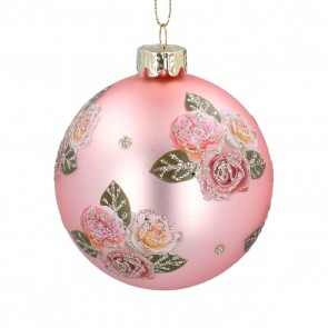 Glass Bauble 8cm - Pale Pink w Pink Glitter Roses