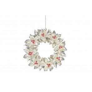 Acrylic Decoration 13cm - Silver Wreath/Berries