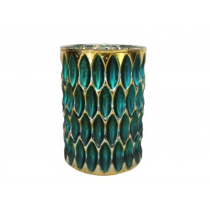Nite Lite 14cm - Teal/Gold Dimpled Glass